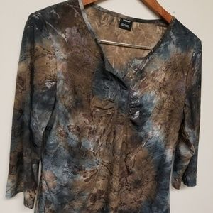 Tribal watercolor floral top size L